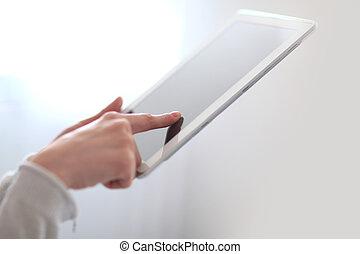 .photo, tabliczka, przestrzeń, ekran, up.woman's, ręka, groźny, cyfrowy, zamknięcie, kopia