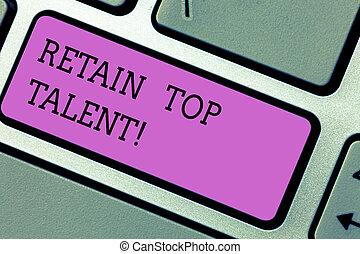 photo, talent., clavier ordinateur, message, sien, créer, écriture, intention, texte, conceptuel, capacité, business, projection, main, clã©, retenir, employés, garder, idea., organisation, sommet