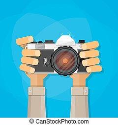 photo, tenue, appareil-photo., mains