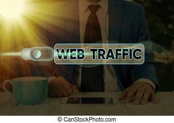photo, traffic., reçu, projection, website., signe, visiteurs, toile, montant, conceptuel, envoyé, données, texte