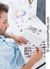 photo, travail, mâle, rédacteur, bureau