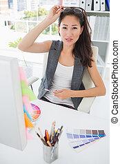 photo, travail, rédacteur, femme, portrait