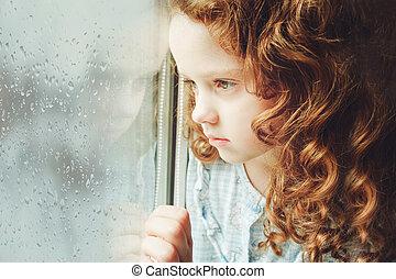 photo., triste, regarder, fenêtre., enfant, portrait, dehors, toning