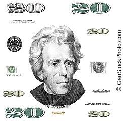 Photo twenty 20 dollar $ bill elements isolated on white...