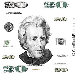Photo twenty 20 dollar $ bill elements isolated on white...