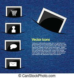 photo, vecteur, icônes