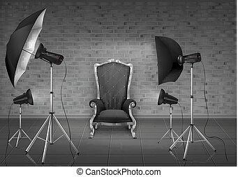 photo, vecteur, studio, softboxes, fauteuil