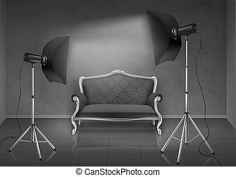 photo, vecteur, studio, softboxes, sofa