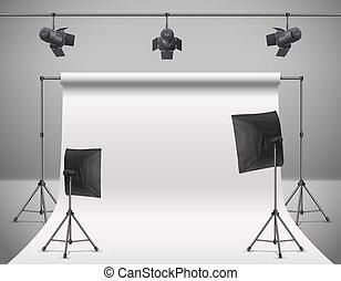 photo, vecteur, studio, vide, équipement