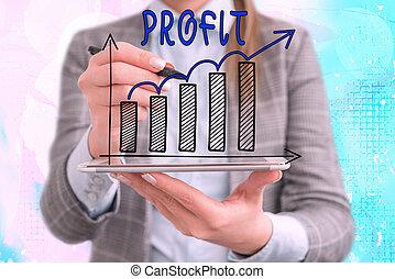 photo, ventes, croissant, ou, économies, conceptuel, ...