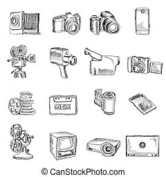 Photo video doodle icons