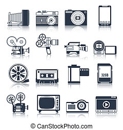 Photo video icons set black