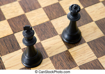 Photo view from above of chess pieces on the board