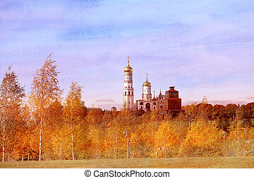 Photo view of Ivan the Great Bell Tower in Moscow