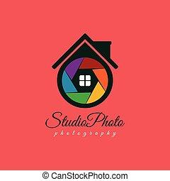 photo, volet, vecteur, gabarit, maison, logo, design.