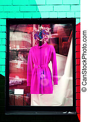 Photo wall background abstract with showcase mannequin