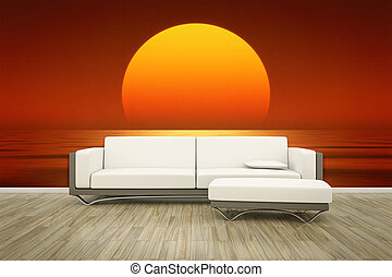 photo wall mural sofa floor - 3D rendering of a sofa in ...