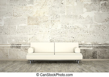 photo wall mural stone wall sofa floor - An image of a sofa...