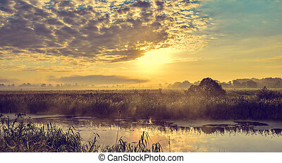 Photo with a sunny summer sunrise over the river