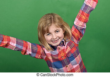 photo young girl portrait on a green screen