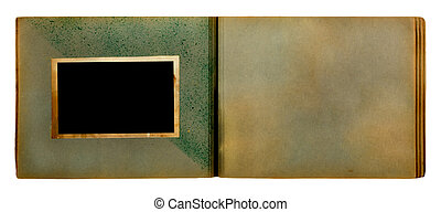 photoalbum, bakgrund, isolerat, foto, årgång, vit