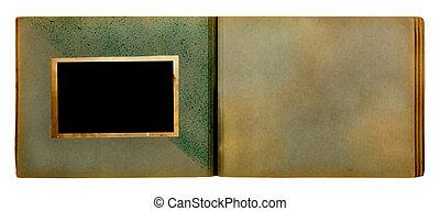 photoalbum, fond, isolé, photos, vendange, blanc