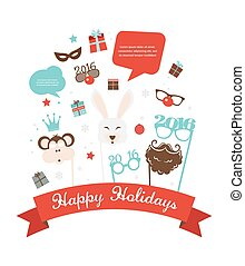 Photobooth Birthday  and new year party set. greeting card