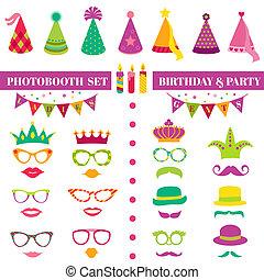 photobooth, cumpleaños, y, fiesta, conjunto, -, anteojos, sombreros, coronas, máscaras, labios, bigotes, -, en, vector