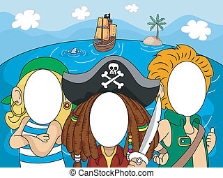 Photobooth Pirate Faces - Illustration of Pirates with...