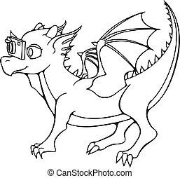 photocamera., 子供, グリーティングカード, ドラゴン