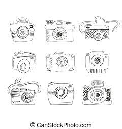 Photocamera collection vector - Sketch photocamera set made...