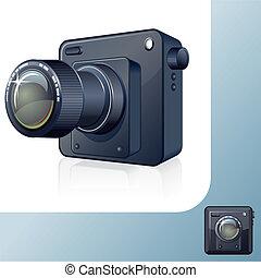 photocamera, desenho, icon., 3d, vetorial, imagem