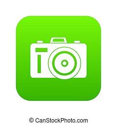 Photocamera icon digital green