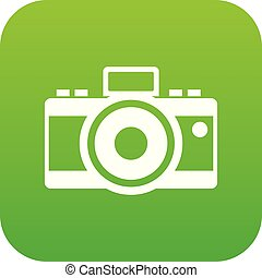 Photocamera icon digital green for any design isolated on...