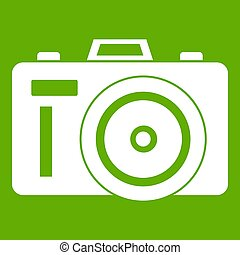 Photocamera icon green - Photocamera icon white isolated on...