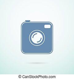 photocamera icon on blue background