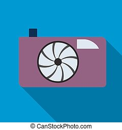 Photocamera icon on the blue background