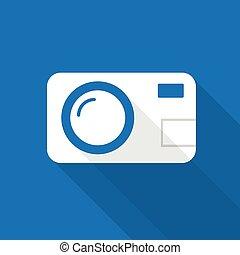 Photocamera Icon - Photocamera icon  on the blue background.