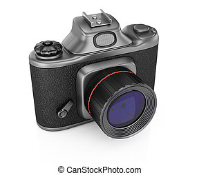 Photocamera isolated on white background. 3d rendering...