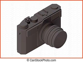 photocamera, isométrico, plano, vector, 3d