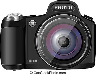 Photocamera realictic vector illustration isolated on the white