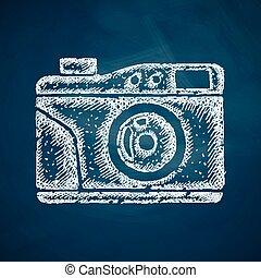 photocamera, vecchio, icona