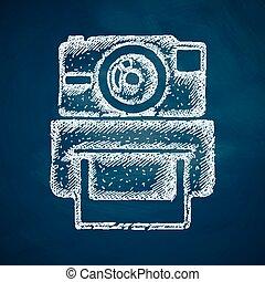 photocamera, vieux, icône