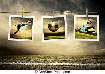 photocards, közül, foci játékos, képben látható, a, külső, mező