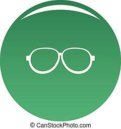 Photochromic eyeglasses icon vector green