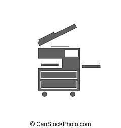 Photocopier icon on white background