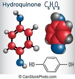 photodeveloper, hydroquinone, chimique, (, -, molécule, structural, formule, utilisé, ), quinol, model.
