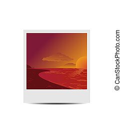 photoframe, 浜, 日没, 背景