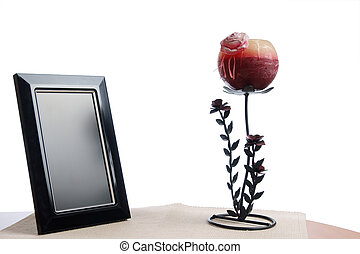 photoframe and candlestick - candlestick and photoframe on...
