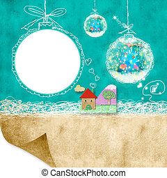 Photoframe Christmas postalcard - Christmas background with...
